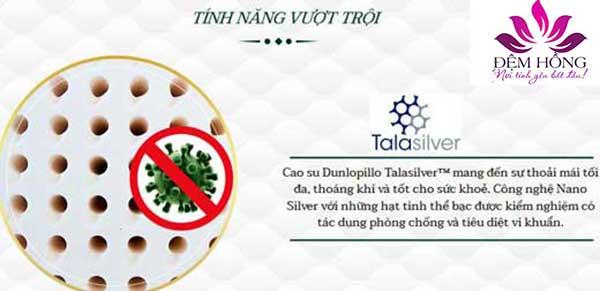 Lớp cao su Talasiver mang đến sự thoải mái tối đa với những hạt tinh thể Bạc được kiểm nghiệm, phòng chống và tiêu diệt vi khuẩn