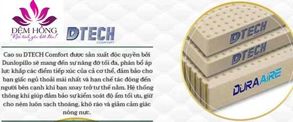 Lớp cao su DTech Comfort nâng đỡ tối đa, phân bổ áp lực tiếp xúc, kiểm soát độ ẩm tốt