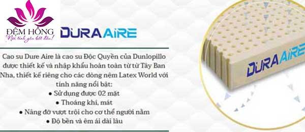 Lớp cao su Dura Aire độc quyền của Dunlopillo nhập khẩu từ Tây Ban Nha