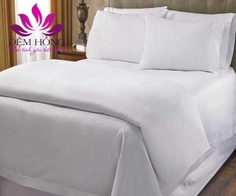 Bộ chăn ga gối trắng trơn khách sạn Anlee HOme