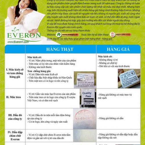 Cách nhận biết đệm Everon chính hãng